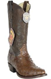 Los Altos Handcrafted Round Toe Genuine Full Quill Ostrich Brown Boots