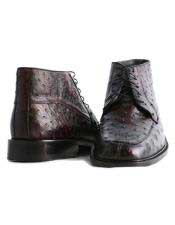 Altos Mens Genuine Ostrich Stylish Black Cherry Dress Ankle Boot