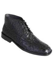 Altos Mens Stylish Black Genuine Ostrich  Classic Dress Ankle Boot