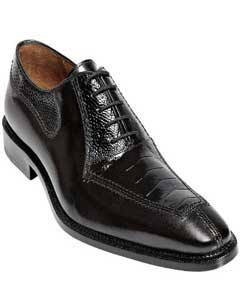 Mens Ostrich Top Shoes by Belvedere Black Shoes Dino