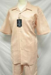 Mens Casual Peach Linen Casual Two Piece Walking Outfit For Sale