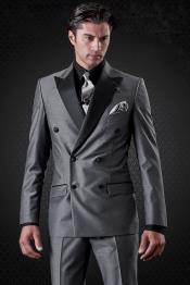 Slim Fit Charcoal Double Breasted Peak Lapel Formal Tuxedo Suit
