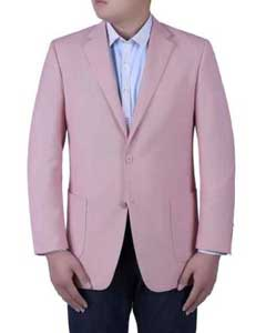 Mens Pink Birdseye Textured Double Side Vents Classic Fit Italian Styled Blazer