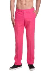 Mens Dress Pants Trousers Flat Front Slacks Hot Pink