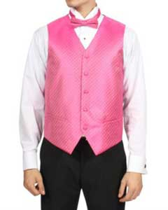 Mens Fuchsia ~ fuschia~ hot Pink Diamond Pattern 4-Piece Vest Set Also available in Big and Tall