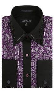 Toned Lay Down Collar Solid Accents Microfiber Design Paisley Regular Fit Pink Purple and Black Mens Dress