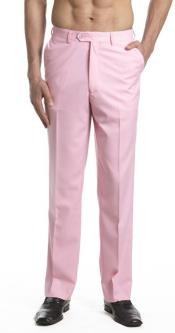 Mens Dress Pants Trousers Flat Front Slacks Pink