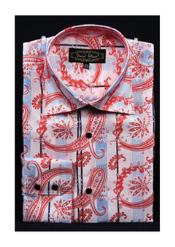 Pink Fancy Shiny Paisley High Collar Mens Dress Shirt Night Club