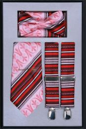 Mens Suspender Tie Bow Tie ~ Bowtie and Hanky Set Pink