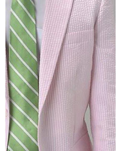 Pink seersucker ~ sear sucker 2 Button Notch Single Pleat Suit