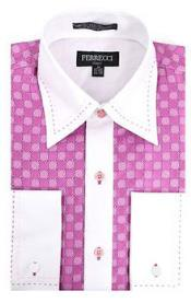 Microfiber Design Two Tone Geometric Regular Fit Pink/White Dress Shirt  White