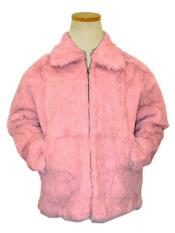 Bagazio Pink Pull-Up Zipper Genuine Full Skin Rabbit Fur Bomber Style Jacket