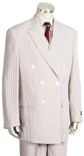 Mens Pinstripe Double Breasted Suit Patch Pocket Orange Suit