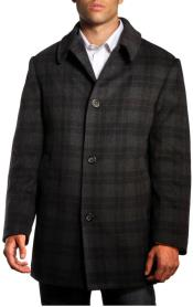 Dress Coat Jean Paul Germain Plaid Jackson Overcoat