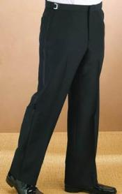 stripe Polyester Plain Lined dress ~ pleated slacks Front Black Tuxedo
