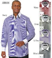 Mens Stylish Fashion Stripe Shirt w/ solid accent cuffs White Collar Two