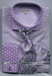 Dot French Cuffed Matching Shirt & Tie Combo Lavender Set Mens