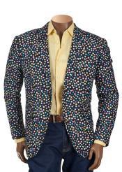 Mens 2 Button Notch Lapel Multicolor Polka Dot Print Slim Fit Blazer