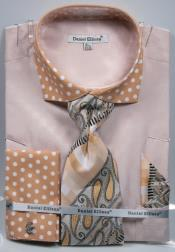 Polka Dot Sand Dress Shirts French Cuffed Matching Shirt & Tie