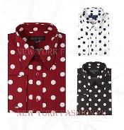Fashionable Cotton Polka Dots Design Dress Shirt Multi-Color