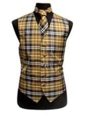 Slim Fit Polyester Plaid Design Dress Tuxedo Wedding Vest/Bow Tie Fashion Set Navy/White/Brown