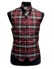 White/Burgundy ~ Wine ~ Maroon Color Slim Fit Polyester Plaid Design Dress Tuxedo Wedding Vest/Bow Tie Fashion