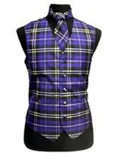 Slim Fit Polyester Plaid Design Dress Tuxedo Wedding Vest/Bow Tie Black/White/Purple