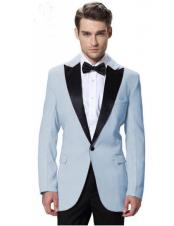 Mens Powder Blue Jacket Black Lapel Tuxedos with Black Pant One Button Elegant Slim Fit Wedding Suit