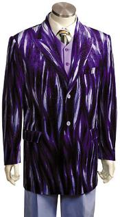 Mens Entertainer Purple Velvet Cool Sparkly Zebra Print Suit
