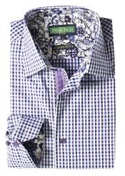 Mens Purple Mini Checker