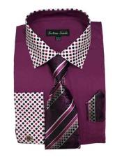 Purple Cotton Blend Solid/Polka