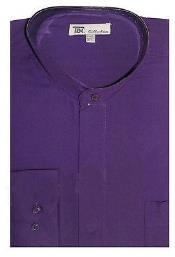 Dress Shirt with Preacher Round Style Mandarin Collar Purple