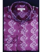 Shiny High Collar Swirl Pattern Fashion Shirt Night Club Outfit guys