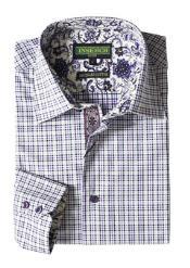 Mens Purple Plaid Cotton