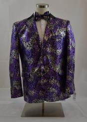 Mens 2 Button Single Breasted Notch Lapel Floral Purple/Silver Sport Coat