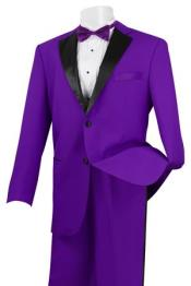 Stylish 2 Button Tuxedo Suit Purple and Black