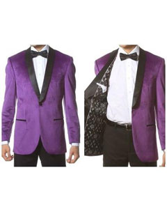 Velvet Shawl Collar Dinner Smoking Purple Tuxedo + Velvet Bowtie + Black