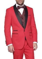 Two Toned Lapel Capri-Red 1-Button vested Suit Tuxedo with Bow Tie