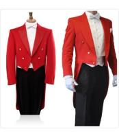 Mens 3 Piece Formal Wedding Tuxedo Red/Black Tail Tuxedo Tux Tailcoat Tuxedo Jacket with the tail suit
