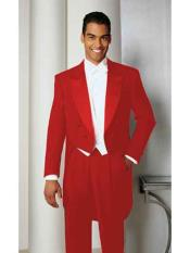 Mens Hot Red Basic Full Dress Tailcoat With Peak Lapel Tail Tuxedo