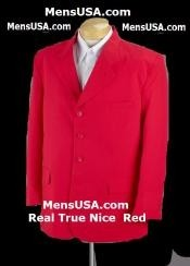 Nice Red Soft Cool Mens Suit + Free Shirt & Tie