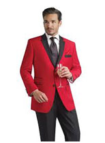 Red Fashion Tuxedo Jacket with Black & Black Trousers For Men