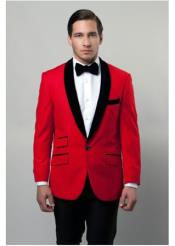 Mens Velvet Lapel Red Color Shawl Lapel Dinner Jacket Blazer Sportcoat