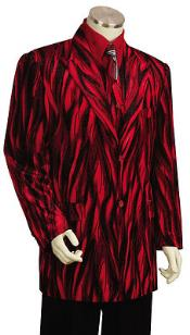 Entertainer Red Velvet Cool Sparkly Zebra Print Suit & Vest