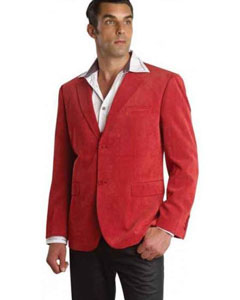 coat 2 Buttons Notch Lapel Cotton Regular Fit Red Mens Corduroy