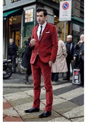 Red Corduroy Suit 2 Button Style + Jacket Sport coat +
