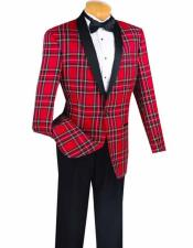 Mens Shawl Lapel Red Plaid ~ Windowpane Dinner Cheap Priced Blazer Jacket