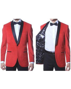 Velvet Shawl Collar Dinner Smoking  Slim Fit Red