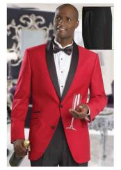 Mens Formal Attire Red Dinner Jacket Tuxedo Suit and Black Lapel Black Pants