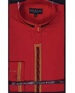Red Mens Fancy Stitched Embroidery Banded Collar Mens Dress Shirt